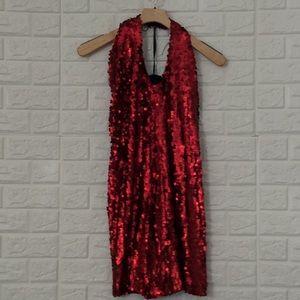 Alexia Admor ruby red sequin halter mini dress